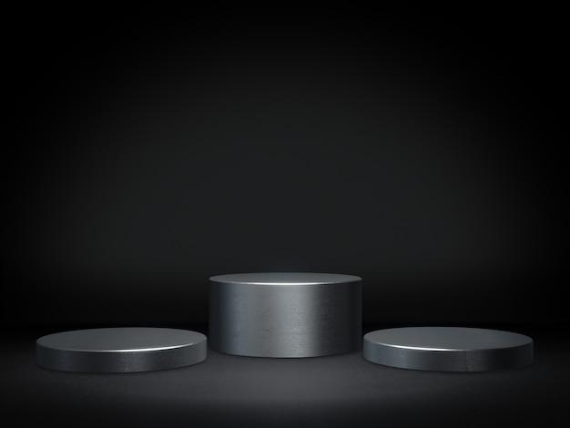 Metalen voetstuk voor weergave, platform voor ontwerp, blanco productstandaard. 3d-weergave. Premium Foto