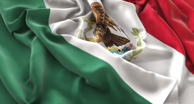 Mexico vlag ruffled prachtig wegende macro close-up shot Gratis Foto