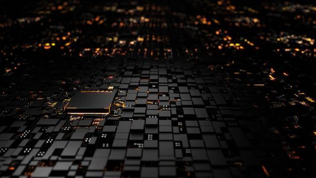 Microprocessor chipset centrale processoreenheid op de verlichting Premium Foto