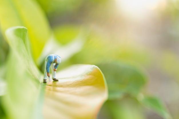Miniatuurmensen: schilders kleuren op groen blad met wazig groen Premium Foto