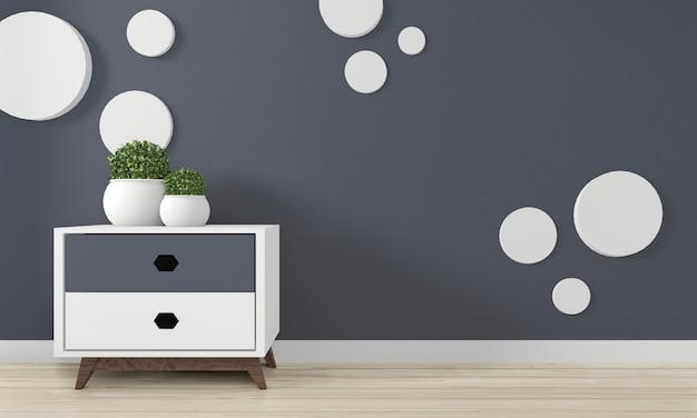 Minikast japan minimaal ontwerp en mock-up decoratie op zen kamer interieurontwerp. 3d rednering Premium Foto