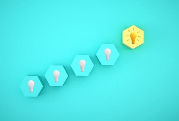 Minimaal concept creatief idee en innovatie. gloeilamp onthullen een idee met zeshoek Premium Foto