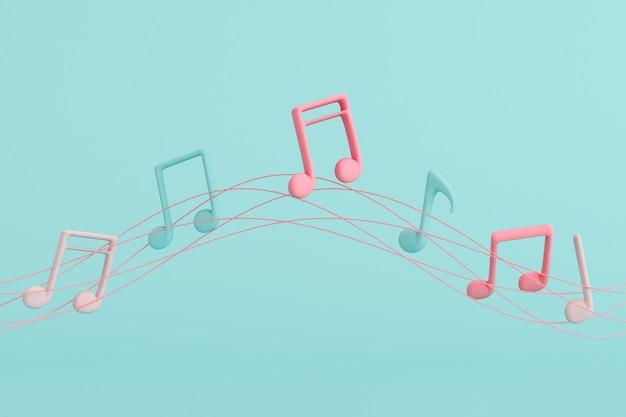 Minimaal illustreren van muzieknoot die op lijnen drijft Premium Foto