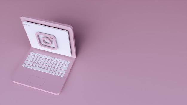 Minimaal instagram logo applicatie sjabloonontwerp eenvoudig op laptop in 3d-vorm. 3d render Premium Foto