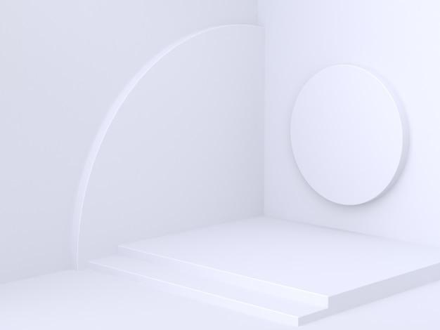 Minimale abstracte hoekmuur met geometrische vormcirkel 3d-rendering witte achtergrond Premium Foto