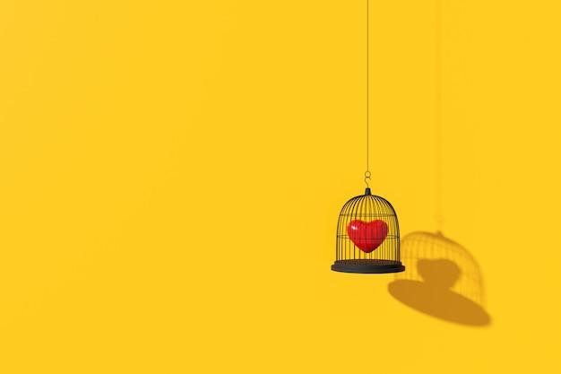 Minimale achtergrond van het hart in de vogelkooi. 3d-weergave Premium Foto