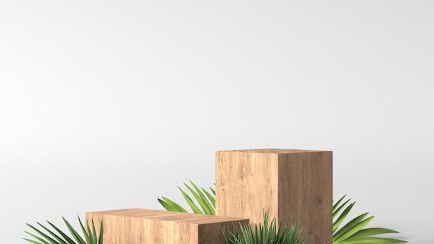 Minimale luxe bruine fijne houten kist podium en groene bladeren op witte achtergrond Premium Foto
