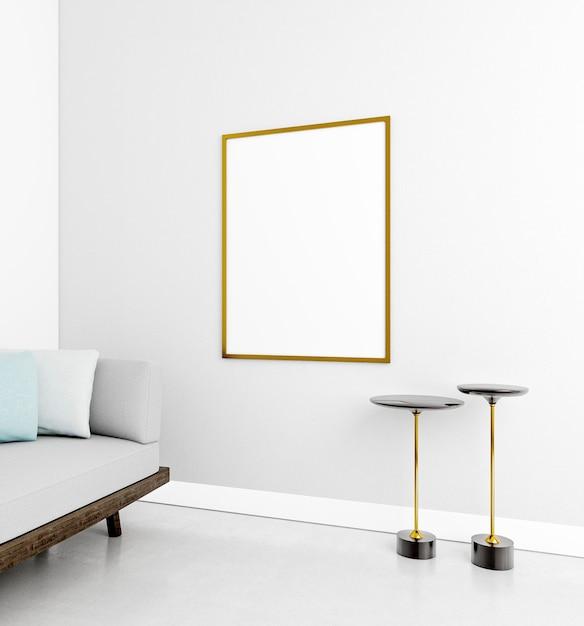 Minimalistisch interieur met elegant frame en bank Gratis Foto