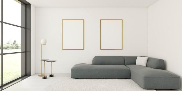 Minimalistisch interieur met elegante frames en bank Premium Foto