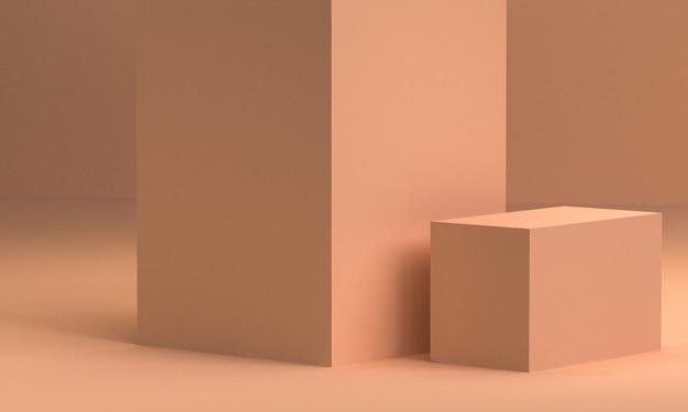 Minimalistische abstracte achtergrond, primitieve geometrische figuren, pastel kleuren, 3d render. Premium Foto