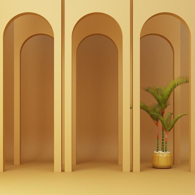 Minimalistische gele boog met planten Premium Foto