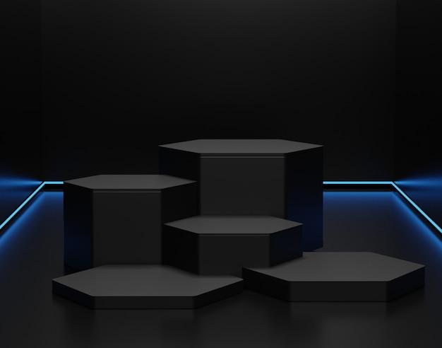 Minimalistische zwarte thema-achtergrond. 3d-abstracte minimale geometrische vormen. glanzend luxe podium voor uw ontwerp. Premium Foto