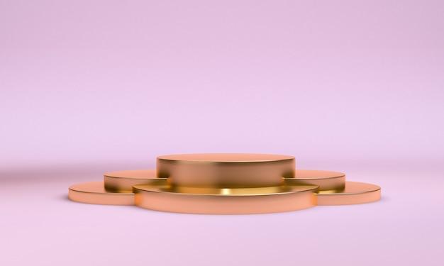 Minimalistt geometrische vormscène minimale, 3d-weergave. Premium Foto