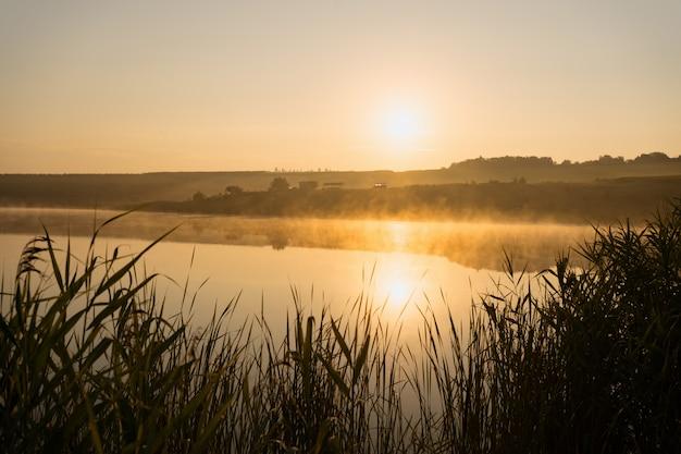 Mistige zomer lake zonsopgang. zonsopgang boven lake superior op een mistige zomerochtend Gratis Foto