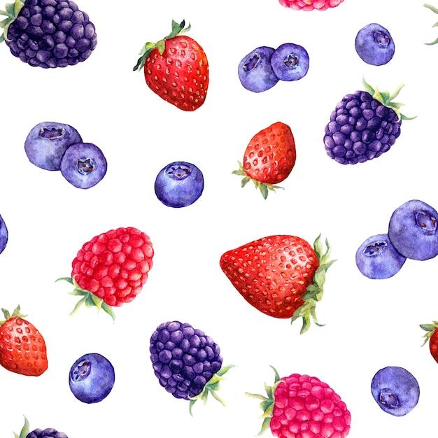 Mix van bessen framboos, aardbei, braam, bosbes Premium Foto