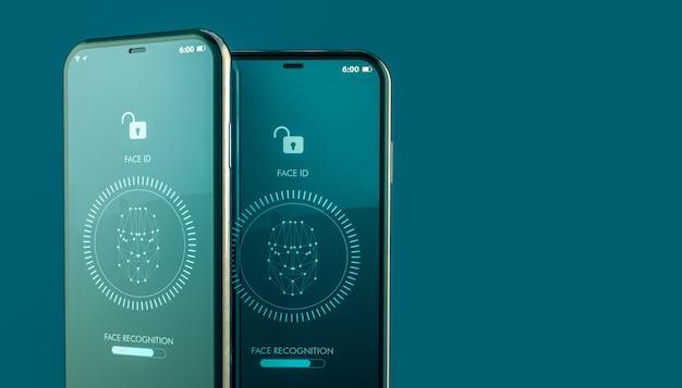 Mobiel ontgrendelen door gezichtsherkenning Premium Foto