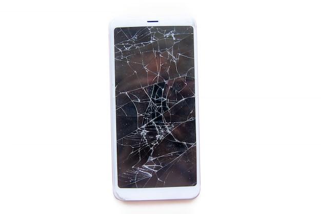 Mobiele smartphone met gebroken glas scherm geïsoleerd. service, reparatie en technologie concept. Premium Foto