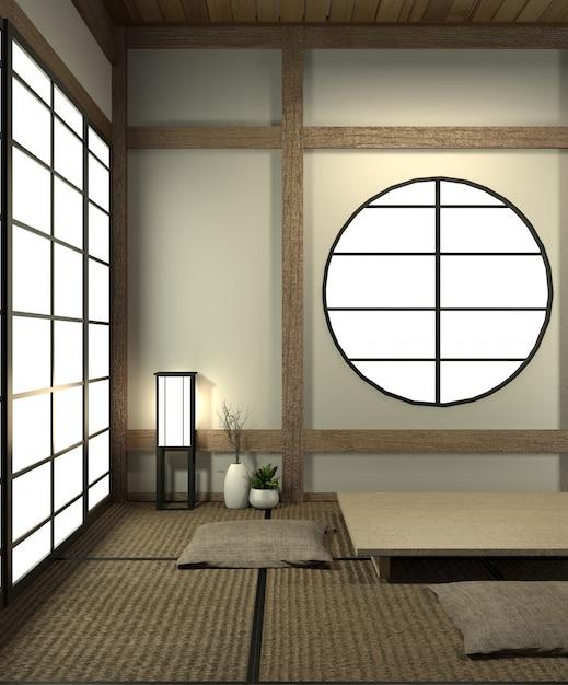 Mock Up Japan Kamer Met Tatami Mat Vloer En Decoratie Japanse Stijl Werd Ontworpen In Japanse Stijl Premium Foto