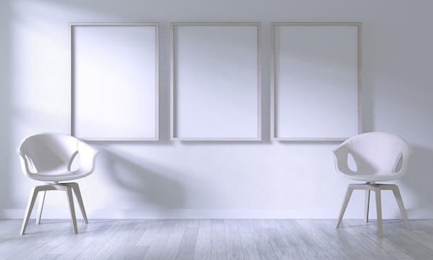 Mock up poster frame met witte stoel op kamer witte muur op witte houten vloer Premium Foto