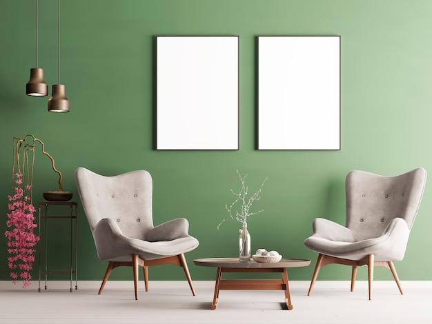 Mock Up Poster In Pastel Modern Interieur Met Groene Muur Zachte Fauteuils Plant En Lampen 3d Weergave Premium Foto