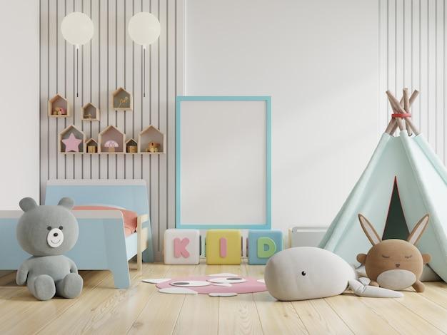 Mock up posterframe in de kinderkamer Gratis Foto