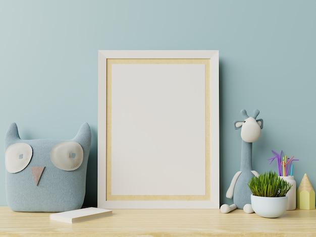 Mock up posters in kinderkamer interieur, posters op lege blauwe muur achtergrond. Premium Foto