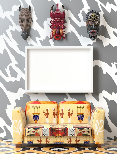 Mock up tribal interieur. zachte bank met kleurrijke etno-bekleding Premium Foto
