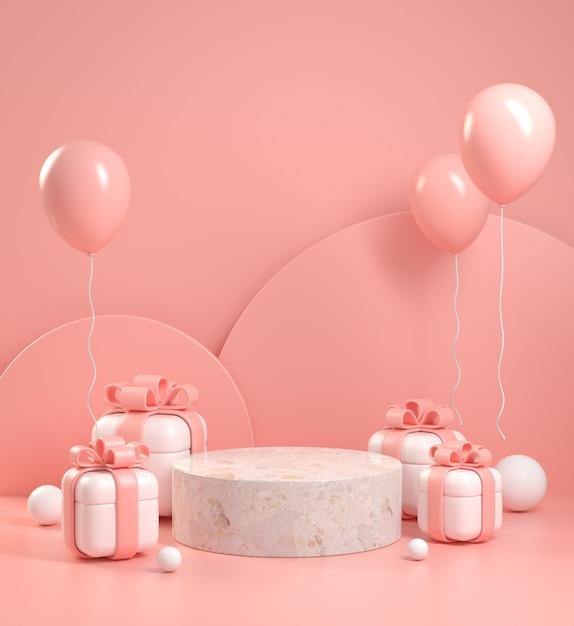 Mockup display geschenkdoos en roze vieren concept abstracte achtergrond 3d render Premium Foto