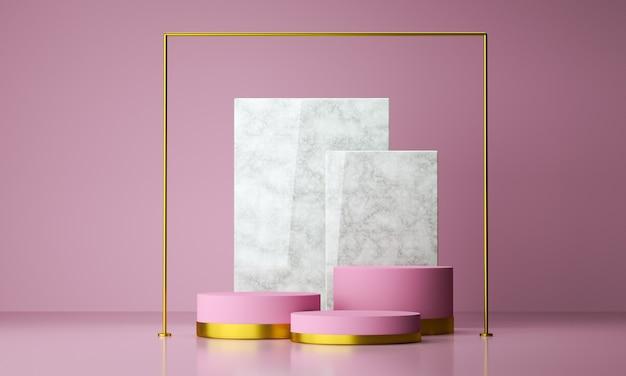 Mockup geometrisch vormpodium voor productontwerp met roze achtergrond, het 3d teruggeven. Premium Foto