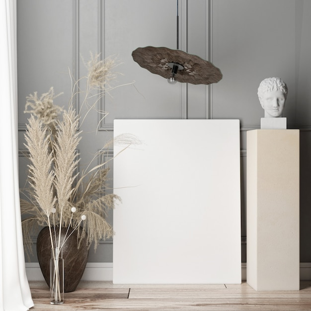 Mockup poster in de woonkamer op de grijze decoratieve muur. scandinavisch design. 3d render, 3d illustratie Premium Foto