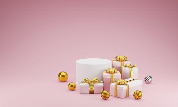 Mockup scène geometrie vorm podium en cadeau voor productvertoning of vieren op roze Premium Foto