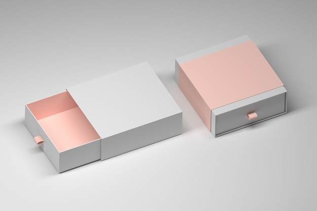 Mockupsjabloon van twee vierkante geschenkdozen met pastelkleuraccenten. 3d-afbeelding. Premium Foto
