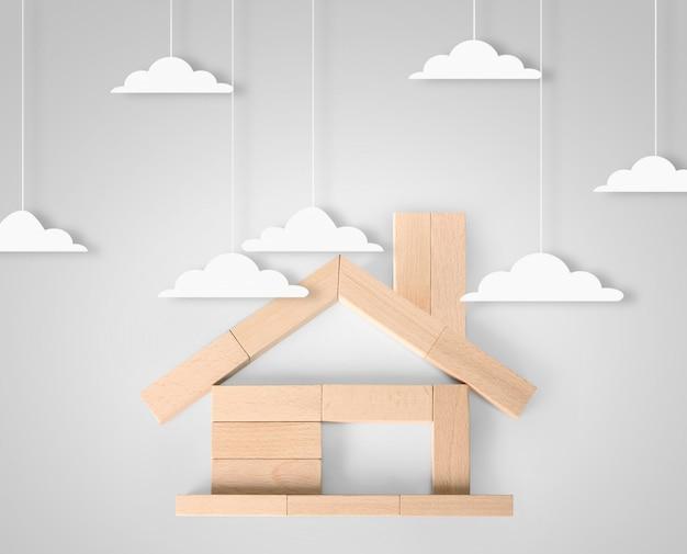Model huis hout vorm van diagram Premium Foto