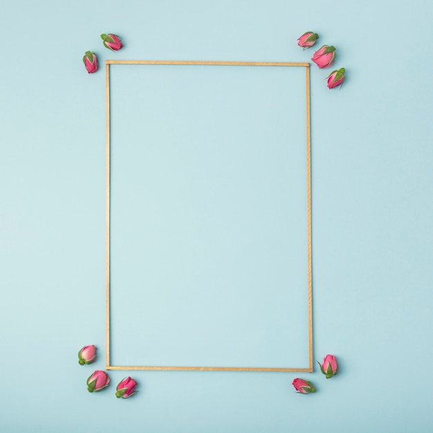 Model leeg kader met rosebuds op blauwe achtergrond Gratis Foto