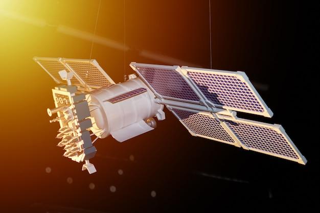 Model van ruimtesatelliet op een donkere achtergrond Premium Foto