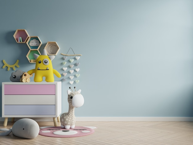 Modelmuur in de kinderruimte op achtergrond van muur de donkerblauwe kleuren. Gratis Foto