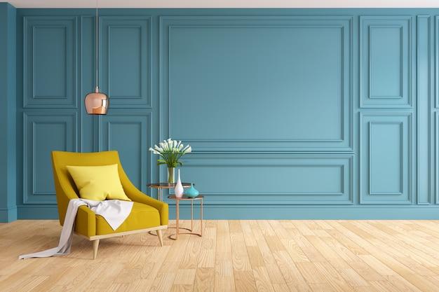 Modern en klassiek woonkamer binnenlands ontwerp, gele leunstoel met houten vloer en blauwe muur, het 3d teruggeven Premium Foto