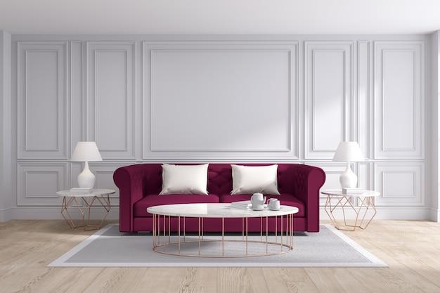 Modern en klassiek woonkamer binnenlands ontwerp, het 3d teruggeven Premium Foto