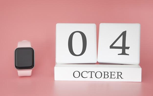 Modern horloge met kubuskalender en datum 4 oktober op roze achtergrond Premium Foto