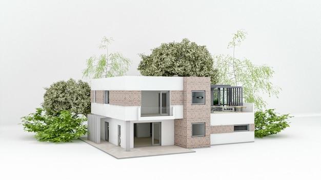 Modern huis op witte vloer met lege betonnen muur achtergrond in onroerend goed verkoop of onroerend goed investeringsconcept, het kopen van een nieuw huis voor grote familie - 3d illustratie van woongebouw buitenkant Premium Foto