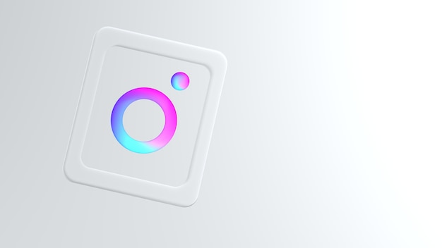 Modern instagram-logo in verloopkleuren met copyspace Premium Foto
