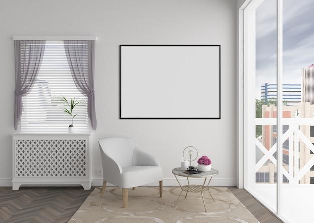Modern interieur met horizontaal leeg fotokader of kunstwerkkader, binnenlands model Premium Foto