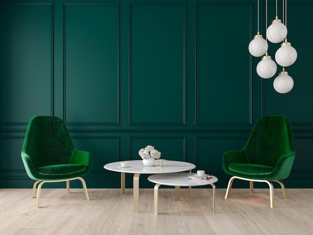 Modern klassiek interieur met fauteuils, lamp, tafel, wandpanelen en houten vloer. 3d render illustratie. Premium Foto