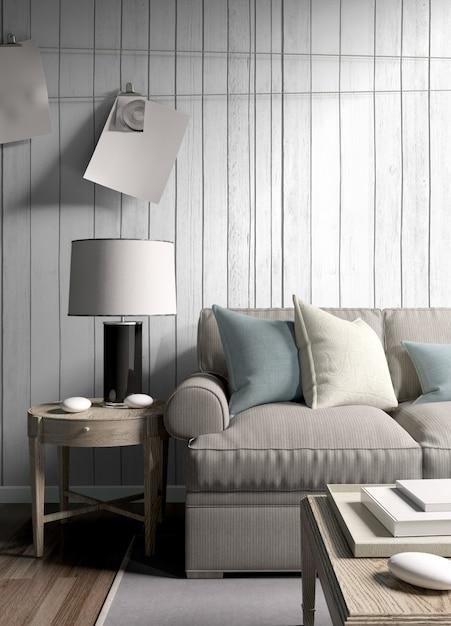 Modern licht interieur met mooie decoratie Premium Foto