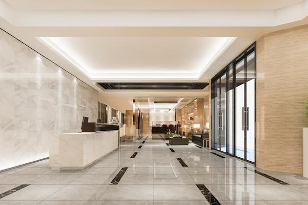 Modern luxe hotel en kantoorreceptie en lounge met vergaderruimte Gratis Foto