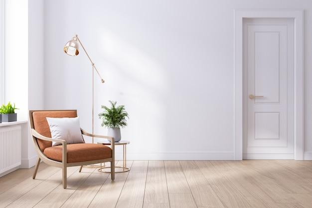 Modern midden van de eeuw en minimalistisch interieur van de woonkamer Premium Foto