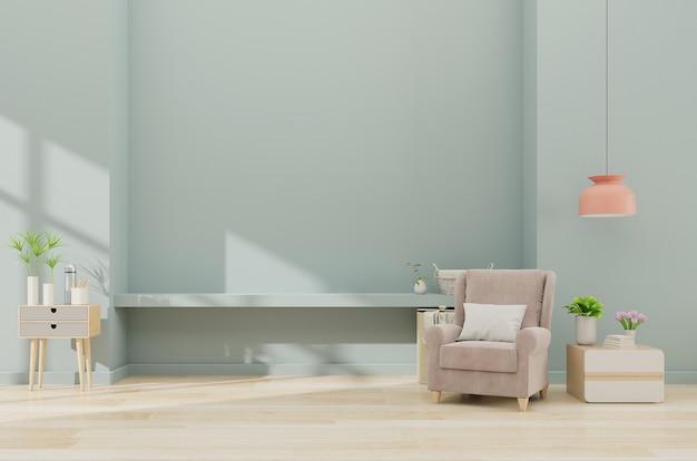 Modern minimalistisch binnenland met een leunstoel op lege blauwe muurachtergrond Premium Foto