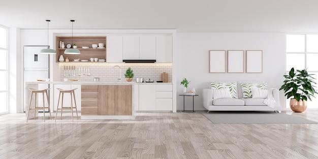 Modern wit interieur, woonkamer en keukenruimte Premium Foto