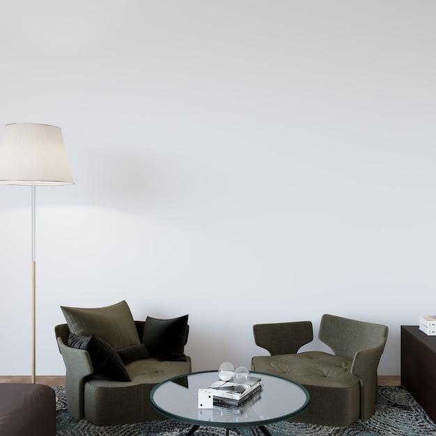 Modern woonbinnenland met fauteuils Premium Foto