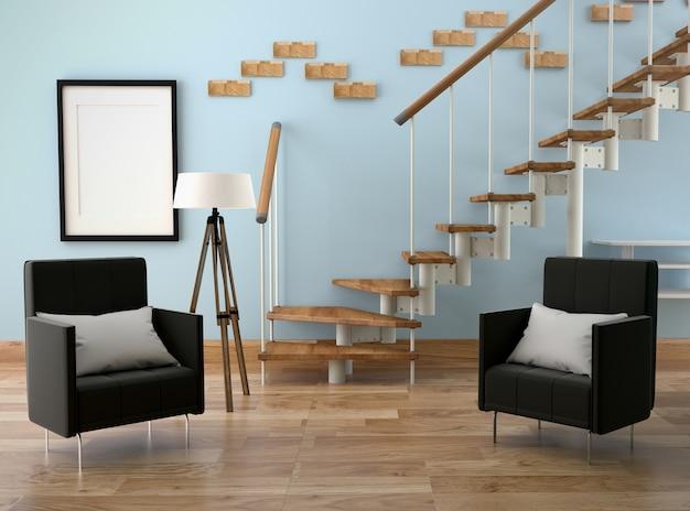 Modern woonkamer interieur. 3d-rendering Premium Foto